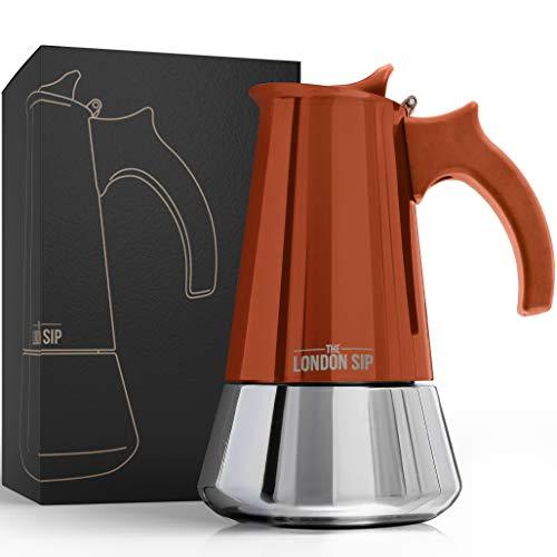 The London Sip Espressokocher Aus Hochwertigem Edelstahl Induktion Geeignet Für Echt Italienischen Espressogenuss In Ihrem Zuhause - Einfache Zubereitung Und Reinigung (Kupfer, 6 Tassen 300ml)