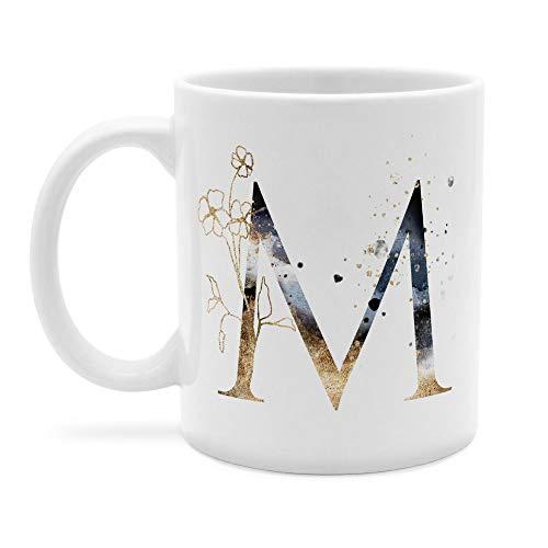 printplanet - Tasse mit Buchstabe: M - Kaffeebecher, Mug, Becher, Kaffeetasse, Beidseitiger Druck - Farbe Weiß