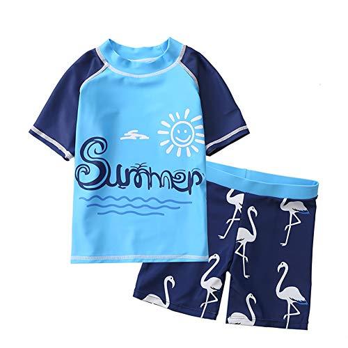 Boys Two Piece Short Sleeve Shark Swimsuit Set Sun Protective Bathing Suits Sunsuit UPF 50+ Blue 3XL