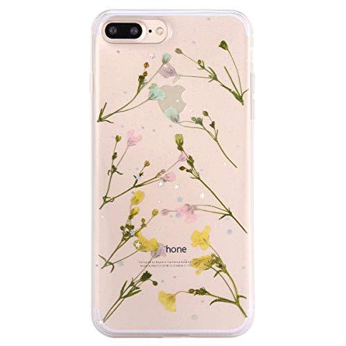 MoreChioce MoreChioce kompatibel mit iPhone8 Plus Hülle,iPhone7 Plus Echte Blumen Handyhülle, Kreativ 3D Herz Transparent Gummi Getrocknete Blumen Glitzer Schutzhülle Stoßfest Silikonhülle Bunt Trockenblumen