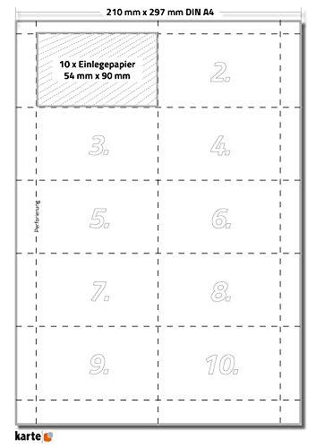 100 x Karteo® Einsteckschild   Beschriftungsschilder   Einleger 160g/m²   weiß hochwertiges perforiertes Papier für Durable Formate 90 x 54 mm auf 10 Stk. DIN A4 Bögen zum Selbstbedrucken beidseitig