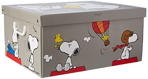 Kanguru Caja de Almacenamiento en cartòn Lavatelli, Snoopy, facil Montaje, Resistente, 39x50x24cm, Grande