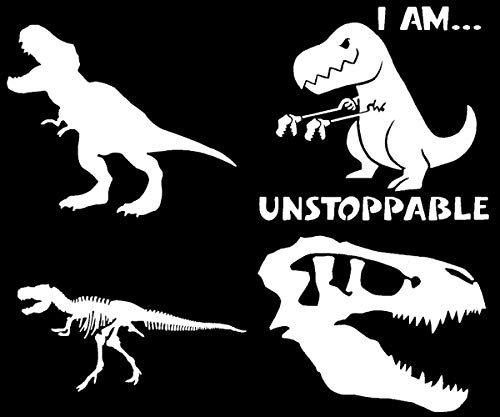 CCDecals T-Rex Dinosaur Decal 4 Pack: TRex Skull, TRex Skeleton, Silhouette, Unstoppable (T-Rex White)