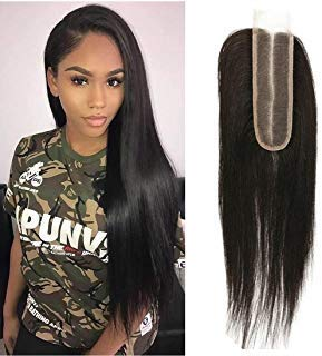 Brazilian 2x6 Lace Closure Human Hair Silky Lace Base With Baby Hair Long Middle Part Unprocessed Virgin Human Hair Extensions Brazilian Remy Hair Weave Sew In Hair 1b 18 inch