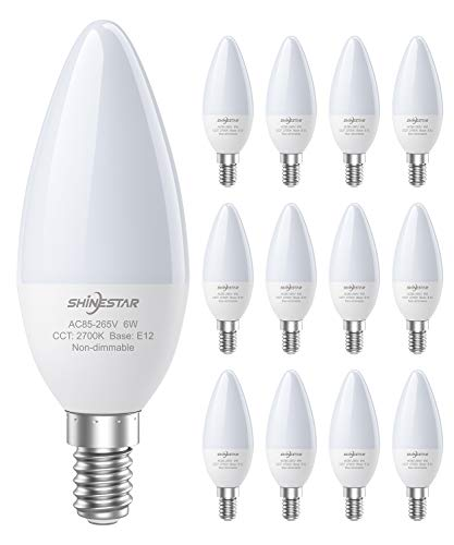 SHINESTAR 12-Pack E12 LED Bulbs for Ceiling Fan, 60 watt...