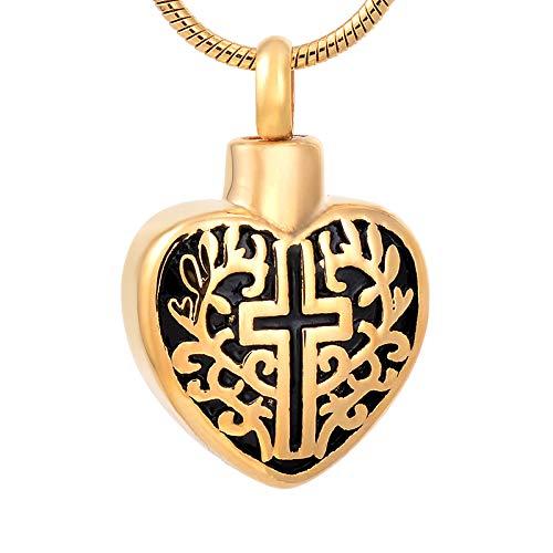 TIANZXS Cruz en el corazón recuerdo urnas joyas conmemorativas para mascotas/cenizas humanas cremación collar fúnebre ataúd encanto oro