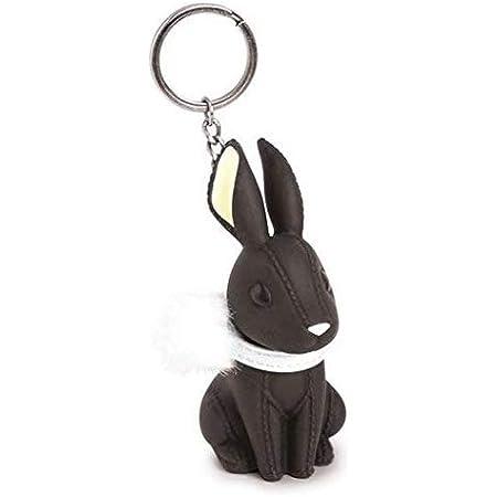 Sucolin Charmant Porte-clés Lapin Avec Boule de Cheveux Ornements Exquis Cadeaux Créatifs Porte-clés pour Filles et Femmes (Noir)