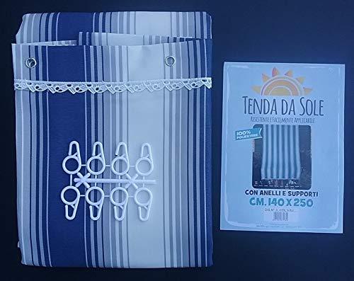 Rideaux de Soleil avec Anneaux et Supports 140 x 250 cm pour extérieur 100% Polyester - Rayures Bleues et Grises