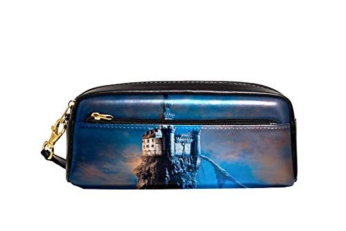 Castillo mágico solitario estuche de cuero de la PU papelería caja de la escuela lápiz caja de las mujeres bolsa de cosméticos