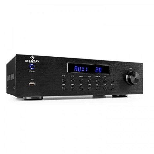 #04 TOP PROFESSIONALE - AUNA AV2-CD850BT - 4 Zone Amplificatore Stereo, Amplificatore Audio HiFi, Stereo, 50 W RMS, Bluetooth per la Riproduzione della Musica Wireless, USB, CD, Formato: MP3, WMA, Nero