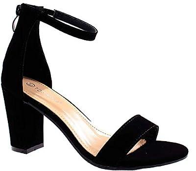 TOP Moda Hannah-1 Women's Fashion Ankle Strap Evening Dress High Heel Sandal Shoes, Black 9