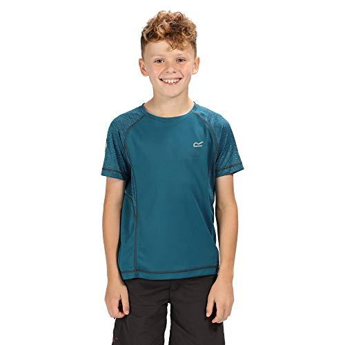 Regatta Kinder Dazzler II Quick Drying Reflective Active T-Shirt, Sea Blue/Sea Blue, 5-6