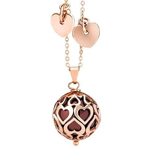 Boccadamo Collana da Donna in Bronzo placcato oro rosa con perla Swarovski Bordeaux e Cuori traforati