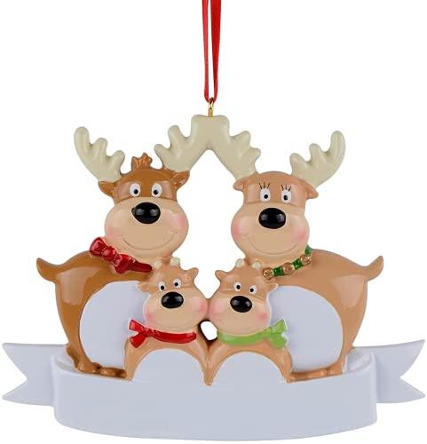 EDSW Familia de renos de 2, 3, 4, 5, 6, 7 adorno personalizado para decoración del árbol de Navidad, bonito regalo de invierno de ciervos, regalo de invierno duradero 2021 (familia de 4)