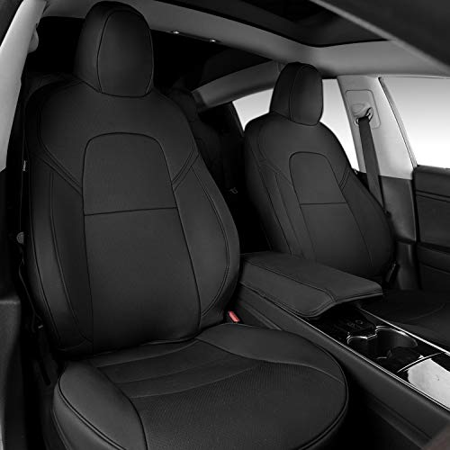 Fit Tesla Model 3 Seat Covers All Season PU Leather Car Seat Protector with Armrest Cover Tesla Model 3 2017-2020 Accessories (Black)
