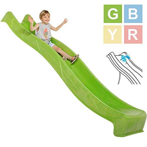 Demmelhuber Rutsche WATERSLIDE 2,90 m mit Wasseranschluss für Spielturm Wellenrutsche Gartenrutsche Kinderrutsche Anbaurutsche Wasserrutsche (Grün)