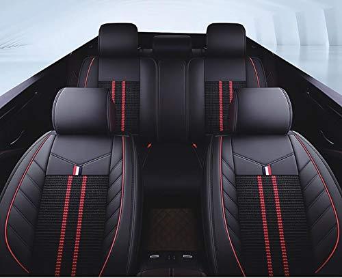 flexzon Universal negro tela y cuero sintético de lujo transpirable conjunto completo fundas de asiento de coche