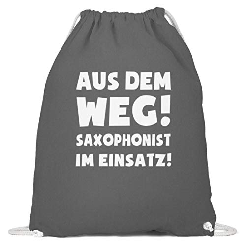 shirt-o-magic Saxophon: Saxophonist im Einsatz! - Baumwoll Gymsac -37cm-46cm-Grafit Grau