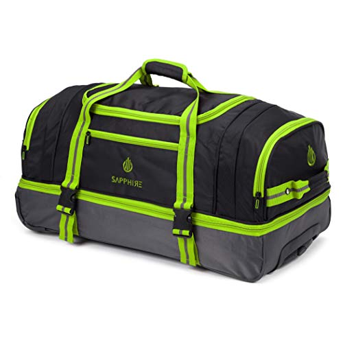 30 Inches Large Rolling Lightweight Wheeled Suitcase Travel Duffle Holdall Bag on Wheels Luggage (Green)