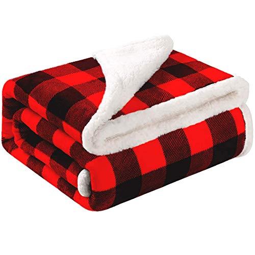 Bobor Buffalo Plaid Throw Blanket for Couch Bed, Christmas Fleece Sherpa Red Black Checker Plaid Decorative Throw, Fuzzy, Fluffy, Plush, Soft, Cozy, Warm Blankets