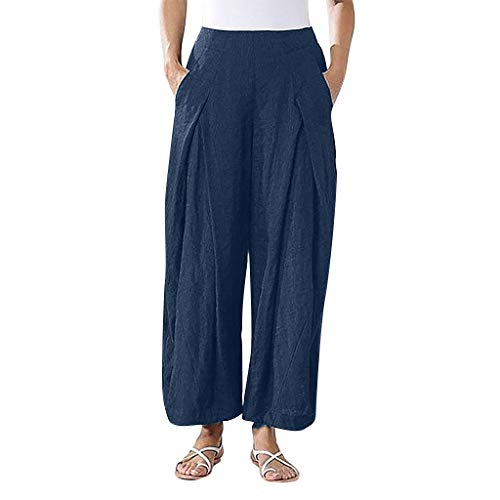 Xniral Hose Damen Elastische Taille Einfarbig Lose Plissee-Hose Mit Weitem Bein Sporthosen Große Größe Mode Wilde Persönlichkeit Hosen(Marine,3XL)