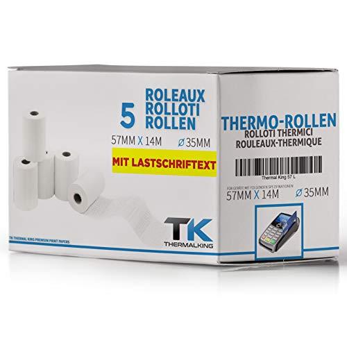 Premium EC Cash rotoli di carta termica con scritta SEPA \ B: 57 mm – DM: 40 mm – Nucleo DM: 12 mm – L: 14 m per stampante, cassa, calcolatrice, stampante Bluetooth 5 ruote.