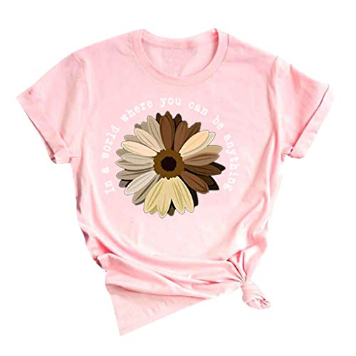 Nihewoo Women Cute Funny T Shirt Teen Girl Graphic Tee Short Sleeve Tunics Blouses Plus Size Shirts Tops Pink