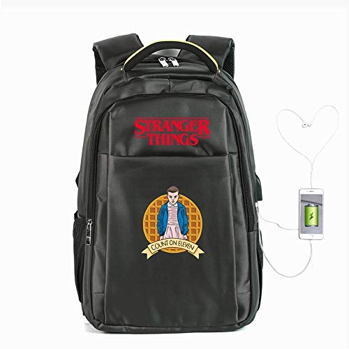 Backpack School Stranger Things Printed College Badge Laptop Bag For Adults/Elementary/middle School Students With Charging Hole Grey-19 inches