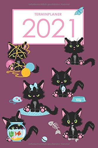 Terminplaner 2021: Day by Day - ein Kalender zum planen, organisieren und notieren - Lebensfreude-Kalender 2021 - Katzen Wolle Schmetterling Maus Fisch-Glas