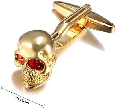 Vesna Hot Sale Tie Clip Skull cuff links Crystal Eyes Skeleton Head Marvel superhero Cufflinks for mens french shirt cuffs Cufflink (Gold-color)
