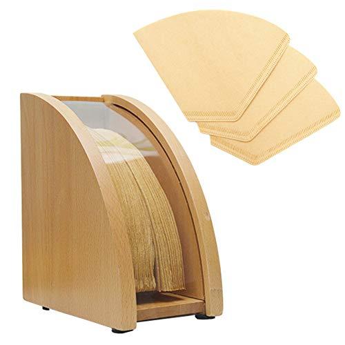 Befirstore - Caja de polvo de papel con filtro de café, portafiltro de café de madera con tapa antipolvo, caja de papel filtro cónico para el almacenamiento del filtro de café (madera)