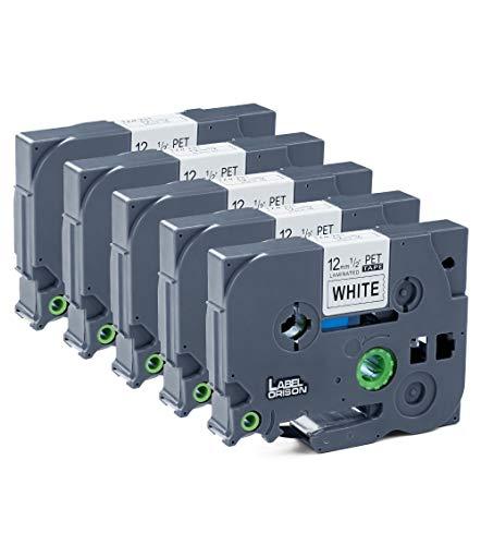 Label Orison Kompatibel Schriftband als Ersatz für Brother P-Touch TZe-231 TZe231 Laminated Tape Etikettenband Schwarz auf Weiß 12mm, 5er-Pack