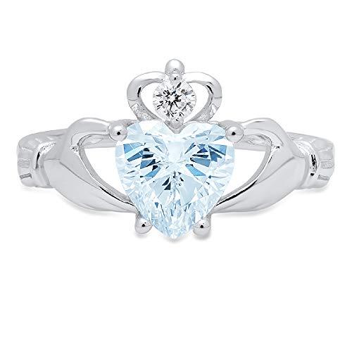 1.52ct Heart Cut Irish Celtic Claddagh Solitaire Aquamarine Blue Simulated Diamond CZ VVS1 Designer Modern Statement Ring 14k White Gold, Size 8 Clara Pucci