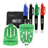 Golf-EZ TRI-LINE Golf Ball Alignment Kit with Carry Case | Swing Path Arrows & Ball Identifiers (Green)