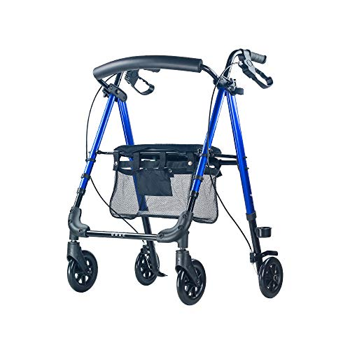 HYRL Ältere Walker Walking Frame, Light Rollator Four-Legged Zusatzwalker Four-Wheeled Trolley, für The Elderly Shopping/Lower Limb Training