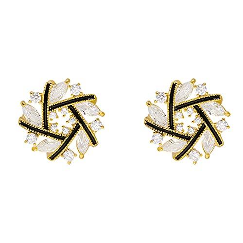 TYXL Pendientes de plata para mujer Pendientes, Joyería de la amistad, Pendientes de botón de flor de oro blanco con diamantes de imitación Pendientes elegantes en forma de cruz Adornos de oreja