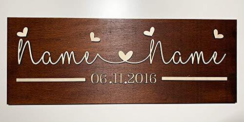 DRYSSON Individuelles Holz Schild als Geschenk zur Hochzeit Jahrestag Valentinstag personalisiert