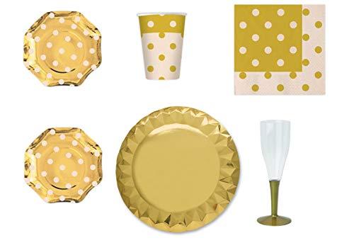 Geordende Pois Gold voor Festa en Party Kit nr. 14 – (10 borden, 10 glazen, 20 potjes, 10 kistjes met Oro)