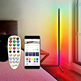 RGB Colorful Corner Floor Lamp, Dimmable LED Corner Light, 61' Tall Minimal Vertical Lamp, Modern Nordic Corner Lighting for Living Room Bedroom, with Romote Control and Tripod Shelf, Aluminium Alloy