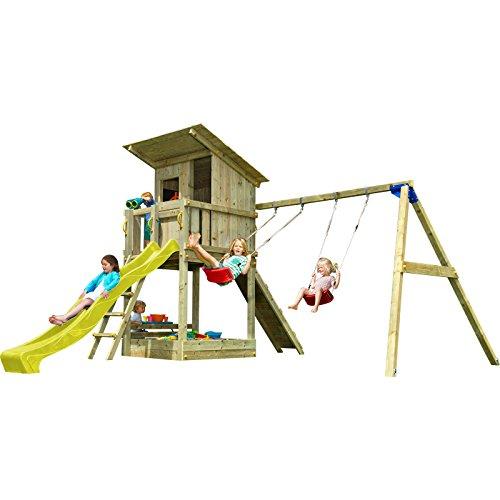 Blue Rabbit 2.0 Spielturm BEACH HUT mit Rutsche 2,90 m + Kletterrampe + Doppelschaukel Kletterturm Holzturm Kiefer MASSIVHOLZ imprägniert (Gelb)