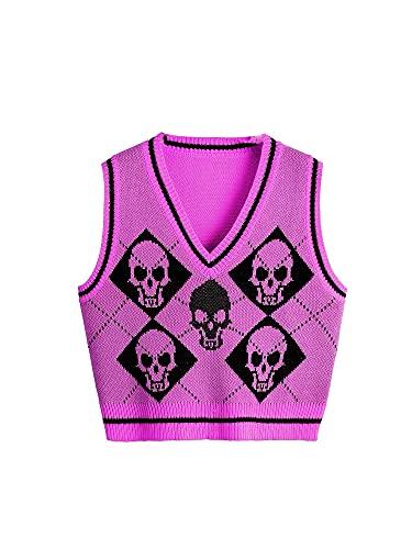 Suéter Chaleco Mujer, Chaleco de Punto Gótico, Esqueleto y Argyle Impreso Suéter De Punto De Las Mujeres Sin Mangas, Morado (, M