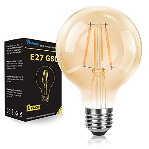 Bombillas LED E27, 4W Vintage Edison Bombilla Equivalente 40W, Bombilla de Filamento Retro Decorativas, Blanco Cálido 2700K 400 LM G80 Grande Globo Antigua Lámpara, No Regulable, 1 Unidade