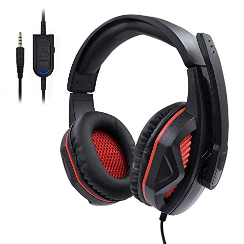 YUIK Gaming headset voor PS4 / PC headset w / surround sound, noise-cancelling over ear hoofdtelefoon met microfoon en LED-licht, Compat, Blackred