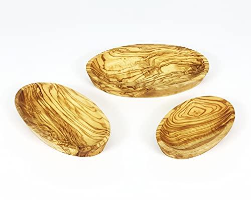 Juego de 3 platos ovalados de madera de olivo