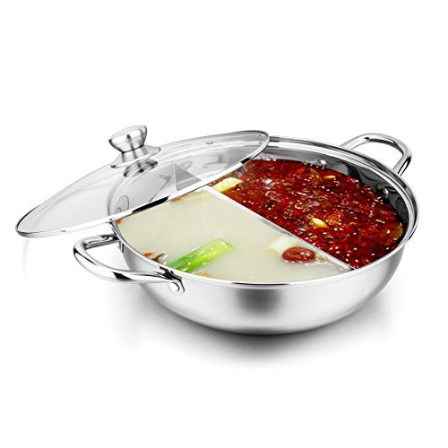 Shabu Shabu 18/10 Stainless Steel & Glass Lid Hot Pot With Divider And Ladles, 13 inch, By Bruntmor