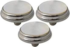 Liyafy 3Pcs Trumpet Valve Finger Buttons Musical Instruments Accessories Silver with White Shell Inlay