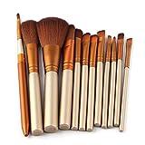 Hermosa 12 cepillos del maquillaje de la caja de hierro portátil maquillaje establecer herramientas de belleza cepillo de sombra de ojos de oro Para mujeres (Color : B)