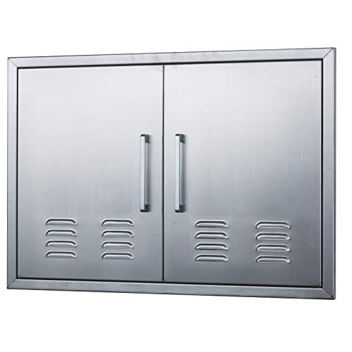 "Outdoor Kitchen Doors Stainless Steel,30"" Double Access Door Vented,Flush Mount for Outdoor Kitchen and BBQ Island"