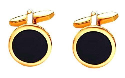 Unbekannt Onyx Manschettenknöpfe rund vergoldet glänzende Fassung 16 mm + schwarzer Exklusivbox