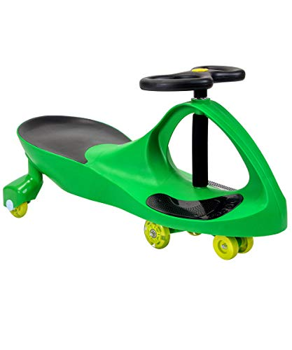 'JOYBAY' Light UP LED-Wheel Premium Swing Car Ride on Toy - Grass Green, Great for Both Indoor and Outdoor Play, Perfect for 3, 4, 5 Years Old and up Boys and Girls Riding Fun